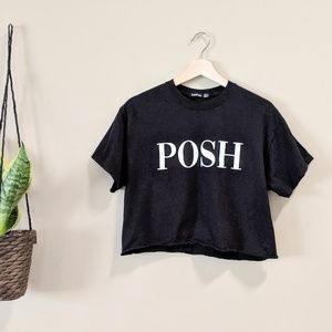 POSH Black Cropped Tee Size 6/8
